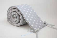 Baby Cot Bumper Crib Bumper Grey Cot Bumper Stars Bumper Stripes Bumper Grey…