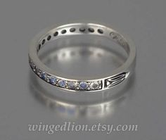LAUREL sterling silver wedding band with Rainbow Moonstones