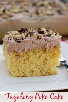 Tagalong Poke Cake. A delicious poke cake filled with peanut butter and topped with a chocolate whipped cream. #pokecake #dessert #chocolate #peanutbutter