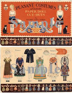 Paper Doll_Vintage Peasant Costumes of Europe by TateMuseumOnline, $7.95* For lots of free paper dolls International Paper Doll Society #ArielleGabriel #ArtrA thanks to Pinterest paper doll collectors for sharing *