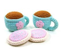 Tea and Cookies Stuffed Toy Play Set, Tea Party Pretend Food Play, Crochet Tea Cups Sugar Cookies Doll Tea Set, Girl Birthday Gift