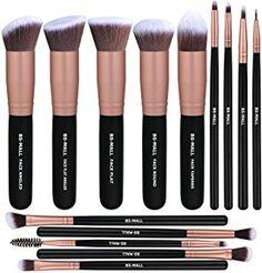BS-MALL(TM) Premium 14 piezas sintético Base polvo corrector Sombras Ojos Plata Negro Conjuntos de pincel de maquillaje (Rosa de Oro)