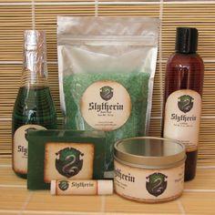 Slytherin Harry Potter Themed Spa Gift Set - Bath Salt, Soy Candle, Soap, Bubble Bath, Lotion and Lip Balm by CherryPitCrafts on Etsy