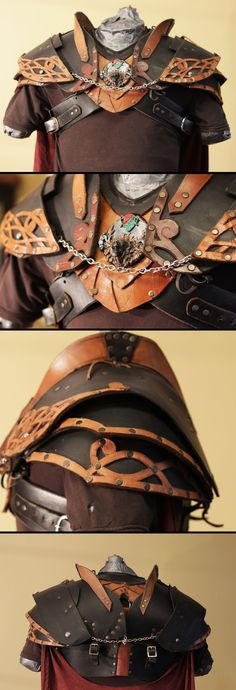 Leather Gorget and pauldrons by ~NeonCowboy on deviantART