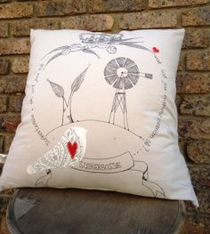 Suikerbossie Cushion Scatter Cushions, Throw Pillows, Fabric Design, Screen Printing, Needlework, Interior Decorating, Arts And Crafts, Doodles, African