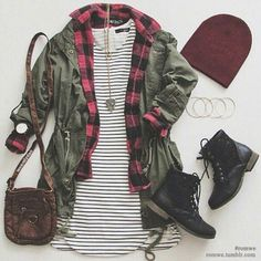 | Striped T Shirt Dress | Red Flannel | Army Green Jacket | Maroon Beanie | Black Combat Boots | Brown Purse | Long Chain Necklace |