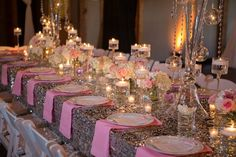 centerpieces, pink and white, with sequin accents
