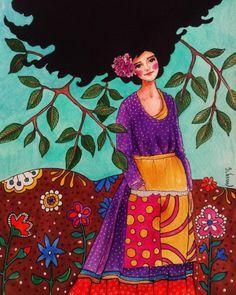 Hulya Ozdemir -not that far Woman Illustration, Watercolor Illustration, Watercolor Art, Art Pictures, Art Images, Klimt, Anime Comics, Naive, Love Art