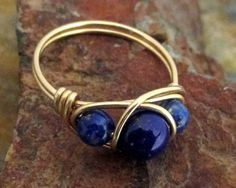 14K Gold Filled Lapis Lazuli Ring -  Healing Crystal Jewerly, Best Friend Rings, Lapis Ring, Lapiz Lazuli Jewelry, Natural Stone Jewelry by MiscAndMiscellany on Etsy https://www.etsy.com/listing/179457131/14k-gold-filled-lapis-lazuli-ring