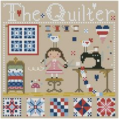 The+Quilter+Cross+Stitch+Pattern+by+Theflossbox+on+Etsy,+$5.00