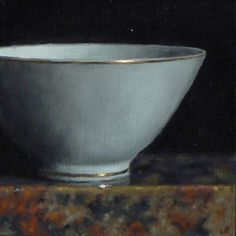 """jeff hayes,  """"Teacup Noir""""   •   Oil on Panel   •   3 x 3 inches (8 x 8 cm)  2016"""