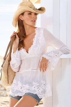 I LOVE this tunic! Lace embroidered tunic