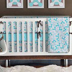 Baby boy room! Interesting pattern!