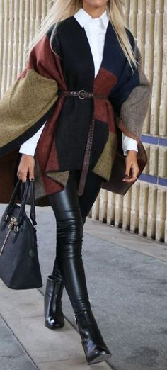 fall fashion trends | poncho + white shirt + bag + boots + leather skinnies