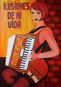 Peinture acrylique femme avec accordéon