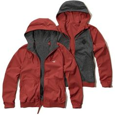 Hollister Reversible Nylon Windbreaker ($50) ❤ liked on Polyvore featuring men's fashion, men's clothing and red