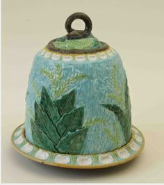 Rare George Jones Cheese Dome and Stand. Majolica International Society image from the Karmason Library.