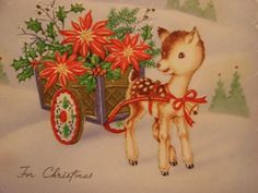 VINTAGE-FAWN-WITH-HER-POINSETTIA-CART-POP-OUTS-CHRISTMAS-GREETING-CARD