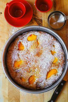 Peach yogurt cake (gluten free).... Use the batter from this cake, but make it blueberry and peach like this one...  http://juliasalbum.com/2014/10/peach-and-blueberry-greek-yogurt-cake-recipe/
