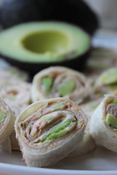 Avocado Salsa Rolls - mix 4 oz cream cheese, salsa, Mexican blend cheese. Spread onto tortilla and top with avocado.  Roll. Wrap with Seran wrap and refrigerate for at least an hour. Slice and serve.