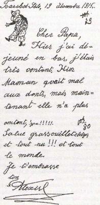 Tsarskoe Selo, 19 décembre 1915    Cher Papa,    Hier j'ai déjeuné en bas, j'étais très contente. Hier Maman avait mal aux dents, mais maintenant elle n'a plus content (???)!!!!!.    Salut grass-ouilletebelge(?) (???) tout (???)!!! et tout le monde.    Je t'embrasse    ton    Alexis