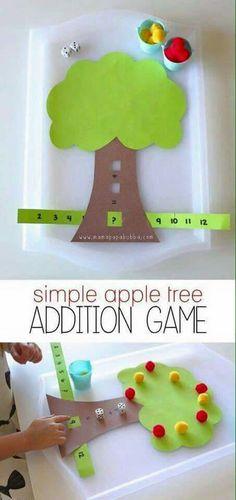 DIY Math Games Ideas to Teach Your Kids in an Easy and Fun Way Simple Apple Tree Addition Game Addit Math For Kids, Fun Math, Preschool Activities, Crafts For Kids, Subtraction Activities, Math Games For Preschoolers, Addition Activities, Learning Games For Kids, Math Math
