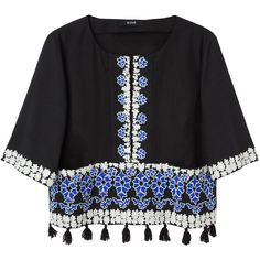 Suno Embroidered Tassel Top (605 BRL) ❤ liked on Polyvore featuring tops, blouses, shirts, t-shirts, black and white blouse, black white shirt, blue blouse, black and white shirt and crop top
