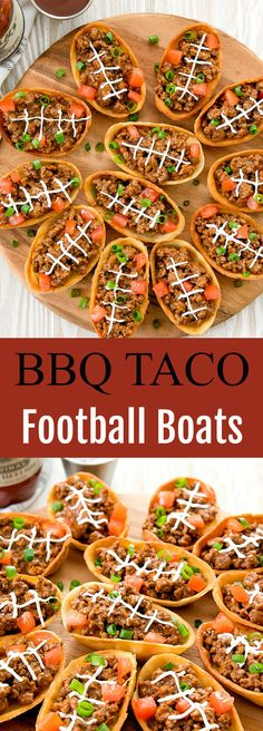 Crispy taco boats piped with laces to resemble football… BBQ taco football boats. Crunchy taco boots with laces that look like soccer balls. Perfect for tailgating or a party on the game day. Healthy Superbowl Snacks, Game Day Snacks, Game Day Food, Rotel Dip, Super Bowl Party, Low Carb Chili, Tailgate Food, Tailgating Recipes, Football Recipes