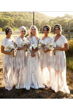 6e64c3eb198 A-line Short V-neck Bell Cap Sweep Train Zipper Lace Dress. Bridesmaid  Dresses 2017Plum ...