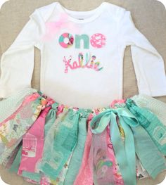 Sweet birthday OUTFIT! Available for one, two, three or four year olds! You can have MINT and pink (as pictured) OR EVEN CREATE YOUR OWN COLOR