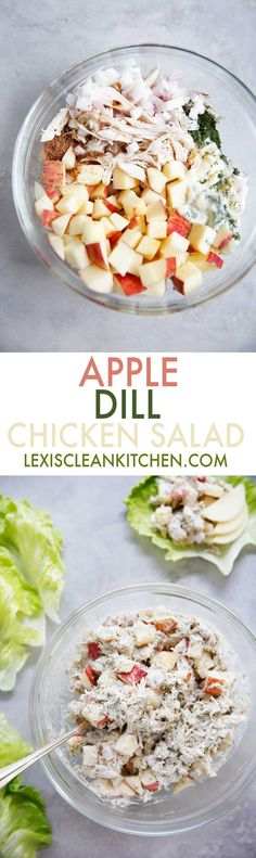 Apple Dill Chicken Salad [low-carb, dairy-free, paleo-friendly]| Lexi's Clean Kitchen