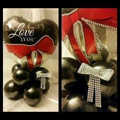 BOLD STATEMENTS STANDOUT!  1st design was inspired by Sue Blower, one of the industries educators for Pioneer Balloon Company. 2nd design I wanted to capture the strips on the balloon. #bling #balloons #centerpieces #balloonbouquet #love #diamonds #redbow #love you