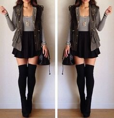 /// Spring fashion outfit ::: high waisted skirt with knee high socks and vest with large bag ///
