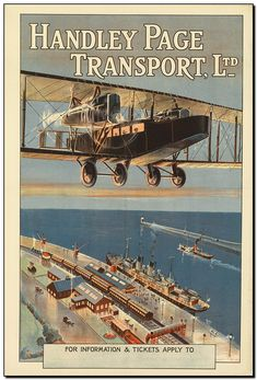 DESIGNER UNKNOWN HANDLEY PAGE TRANSPORT, LTD. Circa 1920. Handley Page, founded in 1909, was one of Britain's first aircraft manufacturing companies. They produced bombers for the country during the First World War. After the war in 1919, Handley Page Transport was founded. It was a commercial airline which flew passengers between London and Paris using the company's converted model 0/400 bombers. In 1924, Handley Page Transport merged with other companies to form Imperial Airways.