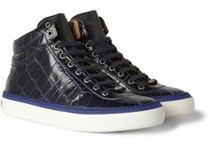 Jimmy Choo Crocodile Embossed Blue High-Top Sneakers