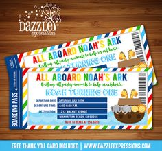Printable Noah's Ark Ticket Birthday Invitation | Kids 1st or 2nd Birthday Party | Baby Shower | Animals | DIY |  | Pool Party | FREE thank you card included | Printable Matching Party Package Decorations Available! Banner | Signs | Labels | Favor Tags | Water Bottle Labels and more! www.dazzleexpressions.com