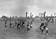 Warm up: The 1922 Crystal Palace squad stretching at their training ground, the same year they bought Selhurst Park, the stadium they still use today