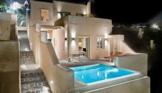 Stylish in Santorini: from the cool blue personal pool to the pale white interior, I'm loving this luxurious modern twist on an classic & beloved locale. A rotating art installation adorns your whitewashed walls, while the ancient charms of the quiet village of Pyrgos are just outside your door...Voreina Gallery Suites - Santorini, Greece #JetsetterCurator