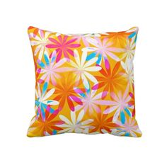 Colorful and vivid abstract floral pattern in bright colors, pink, yellow, and a hint of blue.