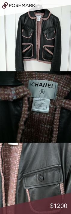 Vintage Chanel leather and tweed bomber jacket Amazing vintage Chanel jacket in perfect condition! Dark charcoal buttery leather with blushy Tweed lining. Guaranteed authentic. Will ship with hanger and original Chanel dust bag! French size 40 fits like a US 6. CHANEL Jackets & Coats
