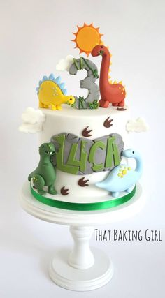 Dino Cake Alen's birthday Bolo Ninjago, Dinosaur Birthday Cakes, 3rd Birthday, Dinosaur Party, Dinosaur Cakes For Boys, Birthday Ideas, Dinasour Cake, Dino Cake, Cute Cakes