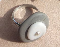 STONE Ring  Natural Beach Stone RING  Rock Ring by PebbleCreationz