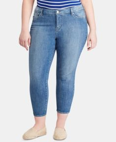 Lauren Ralph Lauren Plus Size Straight Ankle-Grazing Jeans - Indigo Gardens Wash Trendy Plus Size, Plus Size Women, Ralph Lauren, Comfortable Jeans, Plus Size Activewear, Jeans Dress, Baby Clothes Shops, Juicy Couture, Baby Shop