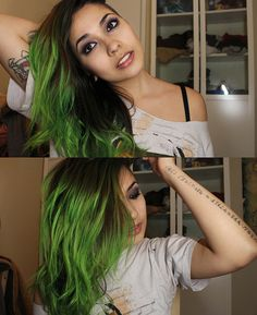 poffercake used Manic Panic electric Lizard for gorgeous green hair