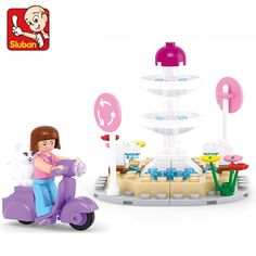79pcs/set Girl Pink Town Lovely Cat Minifigures Building Block Creative Brain Learning Kids Toys