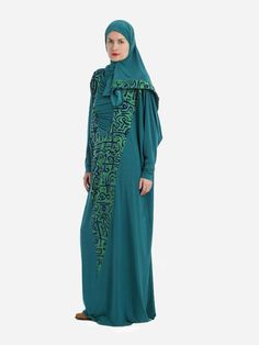 Prayer Dress Isdal Arabic Calligraphy Print Teal With Hijab | Islamic Boutique
