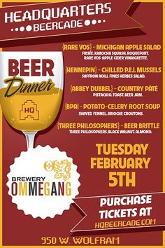 Brewery Ommegang Beer Dinner at Headquarters Beercade in Chicago