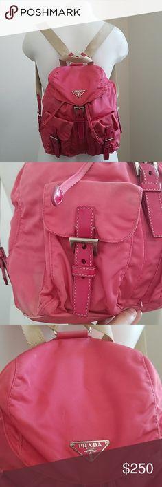 3a9709f34 Prada Pink Nylon Drawstring Backpack Cute Prada Pink Nylon Drawstring Mini  Backpack with adjustable shoulder straps