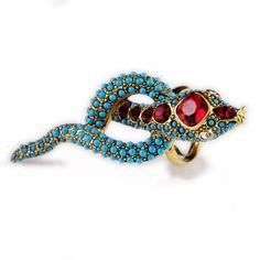 Sapphire and Ruby Snake Ring. Cool!