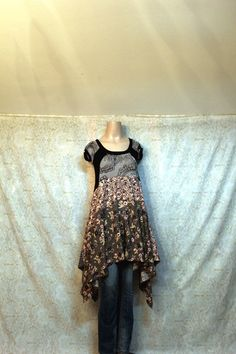Womens/teens/misses dress handcrafted using a recycled knit top. Youll love the way this dress looks!! Draped so that it is so fun and flattering.